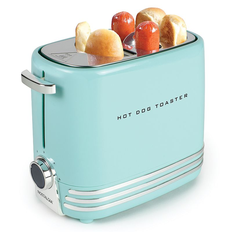 Nostalgia Electrics 2-Slot Hot Dog Toaster, Blue Prepare ballpark favorites everyone loves with this Nostalgia Electrics hot dog toaster. Prepare ballpark favorites everyone loves with this Nostalgia Electrics hot dog toaster. Toasts two delicious regular-size or extra-plump hot dogs at a time Toasts two buns at a time LED-lighted adjustable toasting dial and stop toasting button Removable hot dog cage Drip tray for easy cleaning Cord wrap underneath unit for tidy storage Retro-styled chrome accents WHAT'S INCLUDED Mini tongs PRODUCT CARE Manufacturer's 1-year limited warrantyFor warranty information please click here 8  x 5.5 W x 10.5 D 650 watts 36-in. cord length Model no. HDT900AQ This product may contain a chemical known to the state of California to cause cancer, birth defects or other reproductive harm. For more information go to www.P65Warnings.ca.gov. Size: One Size. Color: Blue. Gender: unisex. Age Group: adult.