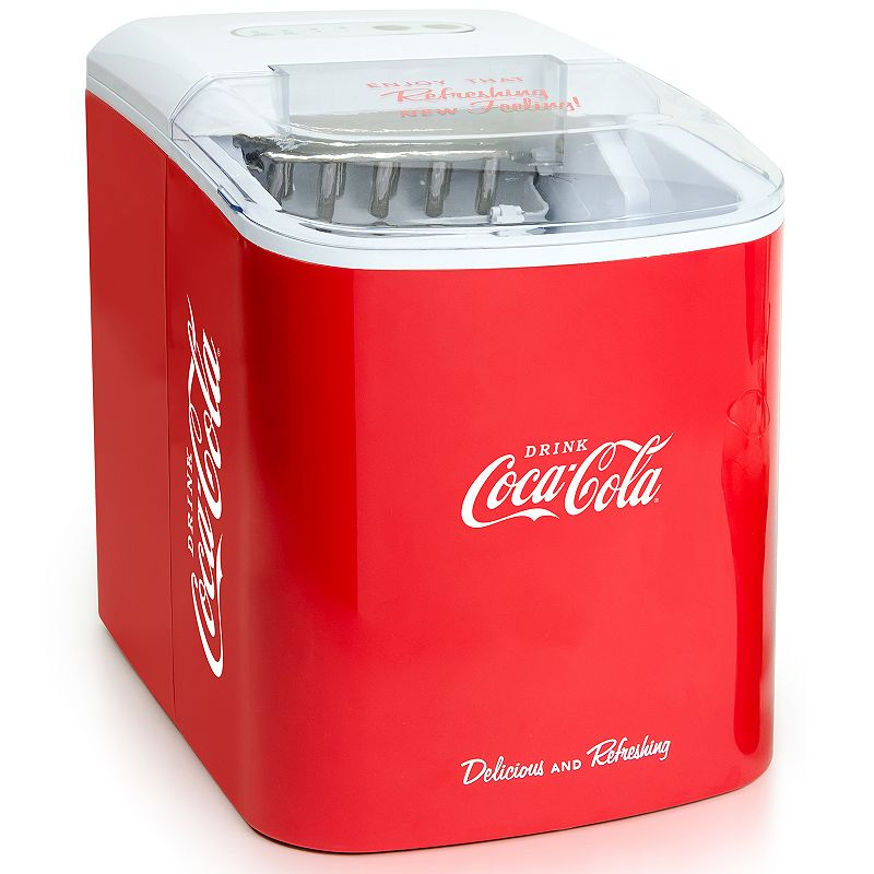 Nostalgia Electrics Coca-Cola Automatic Ice Cube Maker, Red Inspired by the classic Coca-Cola logo and design elements, this modern, stylish, and portable ice maker from Nostalgia Electrics is a must-have for any Coke collector. Inspired by the classic Coca-Cola logo and design elements, this modern, stylish, and portable ice maker from Nostalgia Electrics is a must-have for any Coke collector. Produces 26-pounds of ice in 24-hours Water tank capacity: 2.1 liters Ice basket capacity: 1.32 liters Makes two sizes of ice: small & large Control panel with LED indicator lights Transparent lid for easy viewing Removable ice basket WHAT'S INCLUDED Ice scoop Manufacturer's 1-year limited warrantyFor warranty information please click here 12.4 H x 14.69 W x 9.61 D 240 watts 36-in. cord length Model no. ICMCOKE This product may contain a chemical known to the state of California to cause cancer, birth defects or other reproductive harm. For more information go to www.P65Warnings.ca.gov. Size: One Size. Gender: unisex. Age Group: adult.