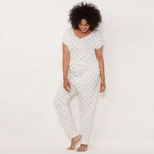 Plus Size LC Lauren Conrad Dolman-Sleeve Tee & Pants Pajama Set
