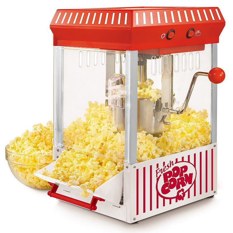 Nostalgia Electrics 2.5-oz. Kettle Popcorn Maker, Red With its unique vintage style and ease of use, this Nostalgia Electrics kettle popcorn maker will be the hit of every party! With its unique vintage style and ease of use, this Nostalgia Electrics kettle popcorn maker will be the hit of every party! Perfect for use with all Nostalgia Popcorn Kits! (Theater Hot Air & Kettle Kit-KPK400, PCJ30-Soft shelled Popping Kernels, PPB600-Reusable Popcorn Bowls, PCSP5-Pre-Measured Coconut Oil Popcorn Kit) Pops up to 10-cups of popcorn per batch Large 2.5-ounce dual-hinged stainless steel kettle with built-in stirring system 360° clear-view popping chamber with vented windows Lighted interior for easy viewing and countertop ambiance Tilt door for easy serving access WHAT'S INCLUDED Kernel measuring cup & oil measuring spoon PRODUCT CARE Manufacturer's 1-year limited warrantyFor warranty information please click here 17 H x 9 W x 10 D 300 watts 36-in. cord length Model no. KPM200 This product may contain a chemical known to the state of California to cause cancer, birth defects or other reproductive harm. For more information go to www.P65Warnings.ca.gov. Size: One Size. Gender: unisex. Age Group: adult.