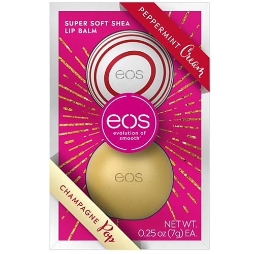 Eos Holiday Limited Edition Peppermint Cream And Champagne Pop Lip Balm Sphere 2 Pack Set