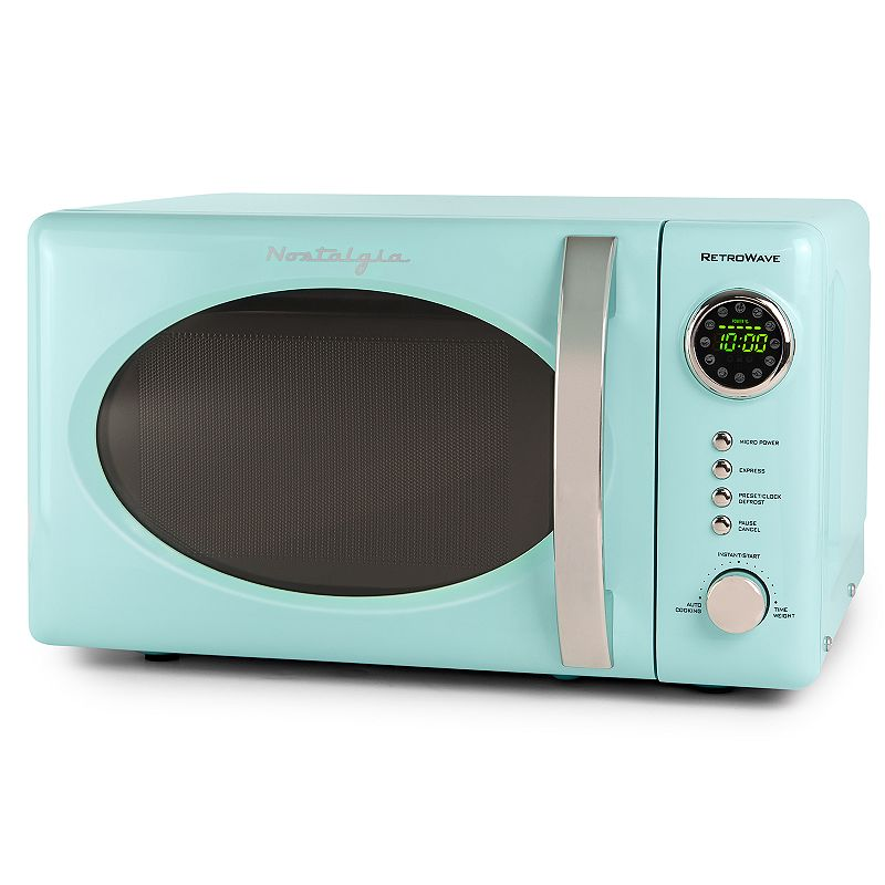 Nostalgia Electrics Retro Aqua 700-Watt Countertop Microwave Oven, Blue With a beautiful and sleek retro design, this Nostalgia Electrics microwave is sure to stand out in any kitchen. With a beautiful and sleek retro design, this Nostalgia Electrics microwave is sure to stand out in any kitchen. 12 pre-programmed cooking settings, delay timer and express cooking provide options for the optimal heating of popular foods like popcorn, pizza, potatoes, veggies and more Powerful 700-watt oven with 0.7 cubic foot capacity Easy-to-read LED display lights up the digital clock and highlights each cooking setting Rotating glass carousel helps cook food evenly A sleek chrome door handle, control panel and accents add fun and flair to this unique retro-styled appliance Easily navigate cooking settings with simple turn-and-push program dial PRODUCT CARE Manufacturer's 1-year limited warrantyFor warranty information please click here .7 cu. ft. capacity 10.25 H x 14 W x 18 D 700 watts 36-in. cord length Model no. RMO7AQ This product may contain a chemical known to the state of California to cause cancer, birth defects or other reproductive harm. For more information go to www.P65Warnings.ca.gov. Size: One Size. Color: Blue. Gender: unisex. Age Group: adult.
