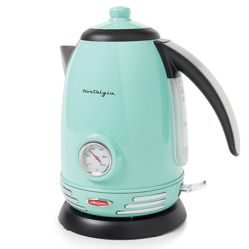 Nostalgia Electrics Retro Series 1.7-Liter Stainless Steel Electric Water Kettle, Blue Heat water to the perfect temperature with this retro-styled Nostalgia Electrics kettle. Heat water to the perfect temperature with this retro-styled Nostalgia Electrics kettle. 1500-watt Strix thermostat rapidly boils up to 1.7 liters at a time Boil-dry protection system User-friendly 360-degree rotational base Lighted on/off indicator switch Easy-to-read temperature gauge Water level indicator window Sleek and stylish stainless steel body and chrome handle cover Cord wrap in base for tidy storage PRODUCT CARE Manufacturer's 1-year limited warrantyFor warranty information please click here 1.7-liter capacity 10.25 H x 6 W x 9 D 1500 watts 36-in. cord length Model no. RWK150AQ This product may contain a chemical known to the state of California to cause cancer, birth defects or other reproductive harm. For more information go to www.P65Warnings.ca.gov. Size: One Size. Color: Blue. Gender: unisex. Age Group: adult.