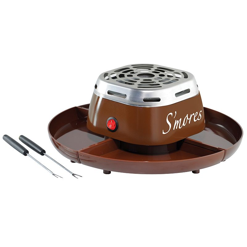 Nostalgia Electrics Electric S'mores Maker, Brown Bring the great campfire tradition right into the comfort of the kitchen with this Nostalgia Electrics electric s?mores maker. Bring the great campfire tradition right into the comfort of the kitchen with this Nostalgia Electrics electric s?mores maker. Electric flameless heater 4-compartment serving tray for graham crackers, chocolate and marshmallows Durable stainless steel housing and top cover BPA Free WHAT'S INCLUDED 2 stainless steel roasting forks Manufacturer's 1-year limited warrantyFor warranty information please click here 4.75 H x 12 W x 12 D 270 watts 36-in. cord length Model no. SMM200 This product may contain a chemical known to the state of California to cause cancer, birth defects or other reproductive harm. For more information go to www.P65Warnings.ca.gov. Size: One Size. Color: Brown. Gender: unisex. Age Group: adult.