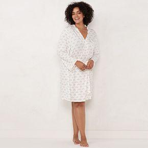 Plus Size LC Lauren Conrad Lace Pocket Wrap Robe