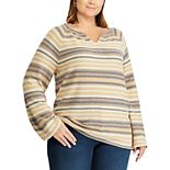Plus Size Chaps Long Sleeve Striped Sweater