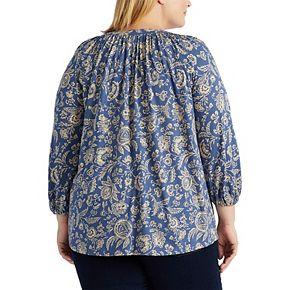 Plus Size Chaps Floral Lace-Up Top