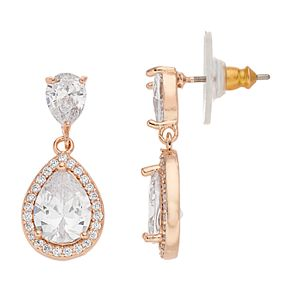 Dana Buchman Rose Gold & Cubic Zirconia Teardrop Earrings