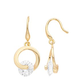 Dana Buchman Cubic Zirconia & Gold Circle Earrings