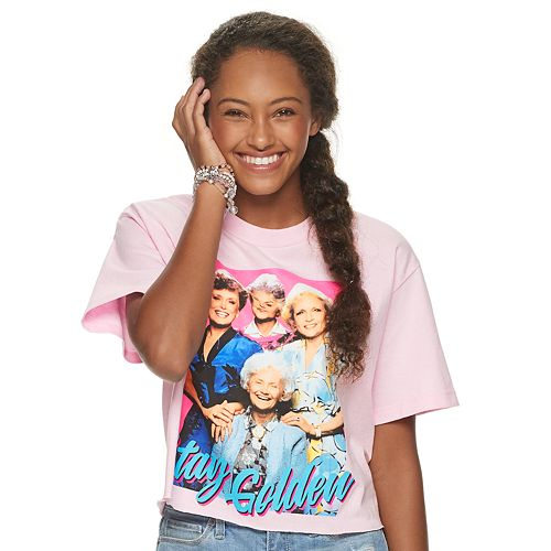 "Juniors' Golden Girls ""Stay Golden"" Cropped Graphic Tee"