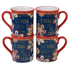 Certified International La Vida 4-pc. Mug Set