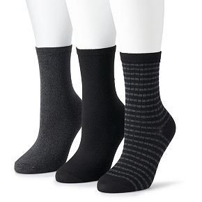 Women's SONOMA Goods For Life? Stripe and Solid Soft & Comfortable Crew Socks (3-Pack)