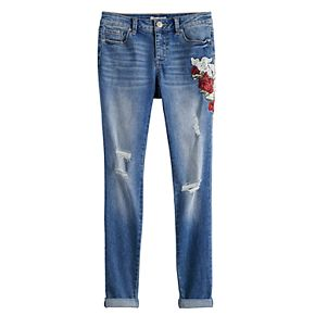 Girls 7-16 Mudd® Embroidered Distressed Skinny Jeans