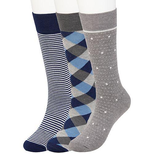 Men's Haggar 3-pack Comfort Patterned Crew Socks