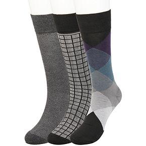 Big & Tall Haggar Comfort Multi-Patterned Crew Socks (3 pack)