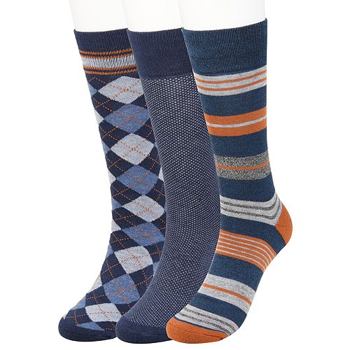 Men's Haggar Comfort Stripe Patterned Socks (3 pack)