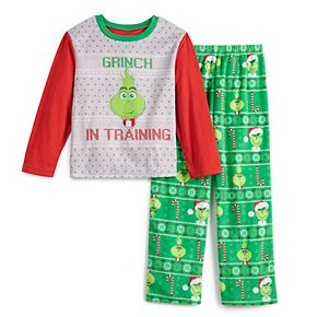 Boys 4-12 Jammies For Your Families The Grinch Top & Bottoms Pajama Set
