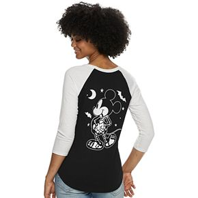 Juniors' Disney's Mickey Mouse Skeleton Raglan Graphic Tee
