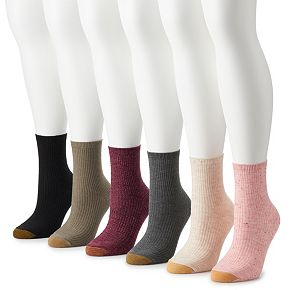 Women's GOLDTOE 6-pk Lol Nep Rib Short Crew Socks