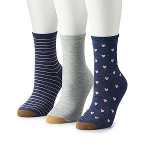 Women's GOLDTOE 3-pk Designer Amore Crew Socks