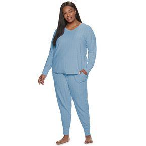 Plus Size Croft & Barrow® Cable-Knit Textured Pajama Set