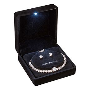 Rose Gold Tone Cubic Zirconia Adjustable Bracelet and Stud Earring Set