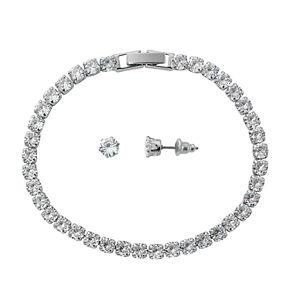 Silver-Tone Cubic Zirconia Tennis Bracelet and Stud Earring Set