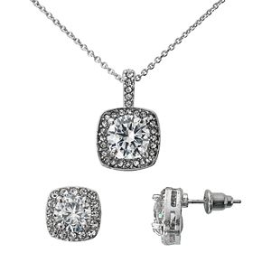 Halo Crystal Pendant Necklace & Stud Earring Set