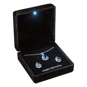 Silver-Tone Sapphire Cubic Zirconia Pave Teardrop Pendant and Earring Set