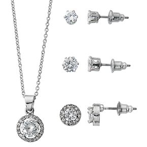 Silver Tone Pave Pendant Necklace & Stud Earring Set