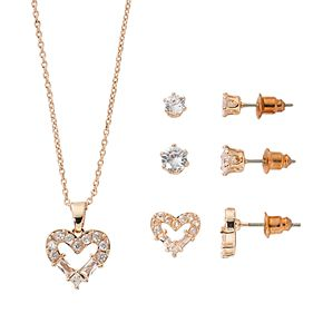 Rose Gold-Tone Cubic Zirconia Open Heart Pendant and Three Piece Earring Set