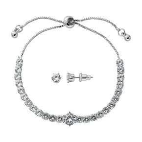 Silver-Tone Cubic Zirconia Adjustable Bracelet and Stud Earring Set