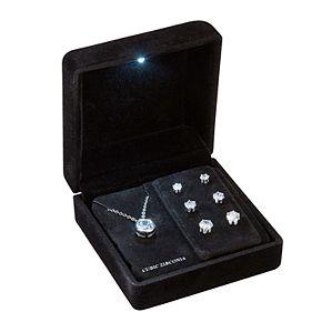 Silver-Tone Cubic Zirconia Round Bezel Set Pendant and Three Piece Earring Set