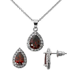 Silver-Tone Ruby Cubic Zirconia Pave Teardrop Pendant and Earring Set