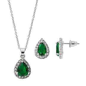 Silver-Tone Emerald Cubic Zirconia Pave Teardrop Pendant and Earring Set
