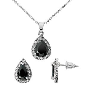 Silver-Tone Jet Cubic Zirconia Pave Teardrop Pendant and Earring Set