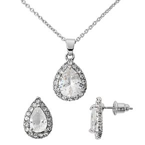 Silver-Tone Cubic Zirconia Pave Teardrop Pendant and Earring Set