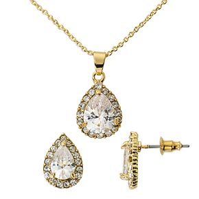 Gold-Tone Cubic Zirconia Pave Teardrop Pendant and Earring Set