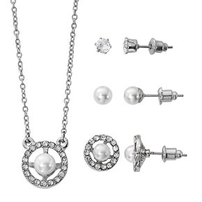 Silver-Tone White Pearl Pave Round Pendant and Three Piece Earring Set