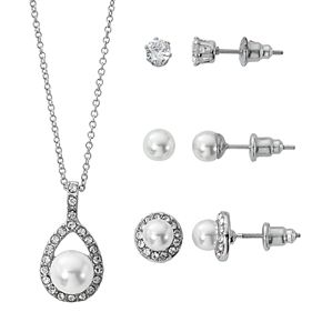 Silver-Tone White Pearl Pave Teardrop Pendant and Three Piece Earring Set