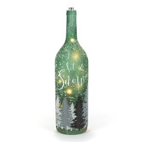 Frosted Let It Snow Green Bottle