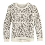 Girls 7-16 It's Our Time Long Sleeve Crew Neck Jacquard Pullover Sweater