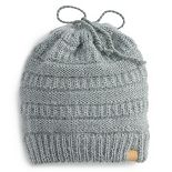 Women's SO® Messy Bun Eyelash Yarn Beanie