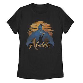 Junior's Disney's Aladdin Genie Silhouette Sunset Poster Tee Shirt