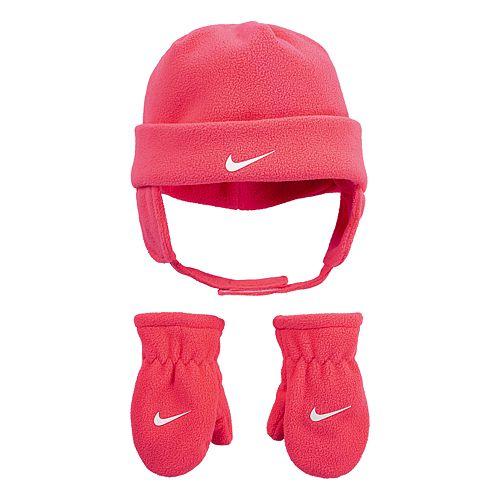 Baby Neutral Nike Polar Fleece Chin Strap Hat and Mittens 2-Piece Set