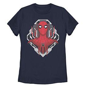 Juniors' Marvel Spider-Man Far From Home Tech Portrait Tee Shirt