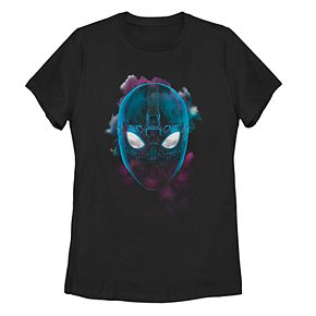 Juniors' Marvel Spider-Man Far From Home Cloudy Stealth Mask Tee Shirt