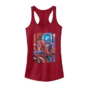Juniors' Marvel Spider-Man Far From Home Mysterio Panel Poster Tank Top