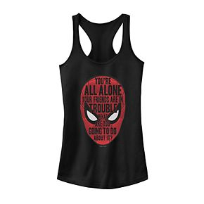 Juniors' Marvel Spider-Man Far From Home Mask Quote Fill Tank Top