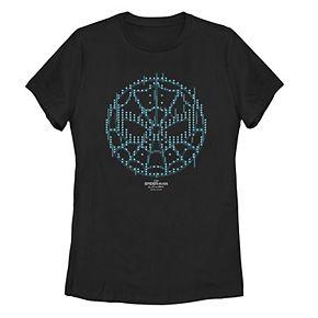 Juniors' Marvel Spider-Man Far From Home Pixel Circle Logo Tee Shirt